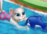 لعبة هروب القط من بركة سباحة